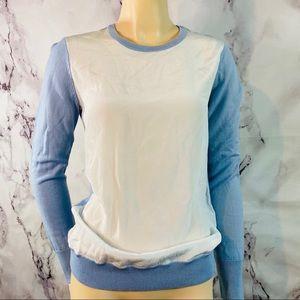 $248 EQUIPMENT Femme Blue & White Silk Front Sz XS